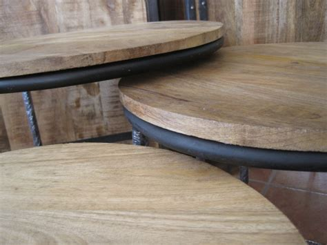 ronde salontafel hout staal salontafel hout met staal fendy ronde tafelset with