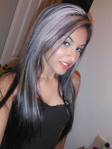 silver highlighted hair styles dark hair with silver highlights love it silver streak