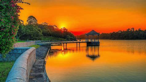 Amazing Lake Forest Church #3: Sunset-orange-sky-lake-park-wooden-platform-summer-garden-forest-with-green-trees-full-HD-Wallpaper-2048x1152.jpg