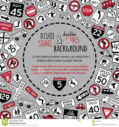 doodle crossing sign vector background of doodles road signs and cars stock
