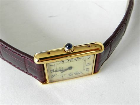Cartier Vintage Tank Watch with Alligator Strap at 1stdibs