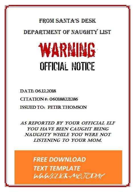 naughty list warning notice santa claus docx