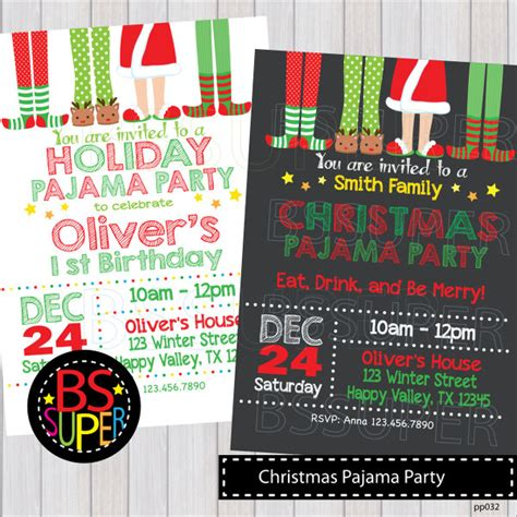 christmas pajama party invitation christmas pajama birthday