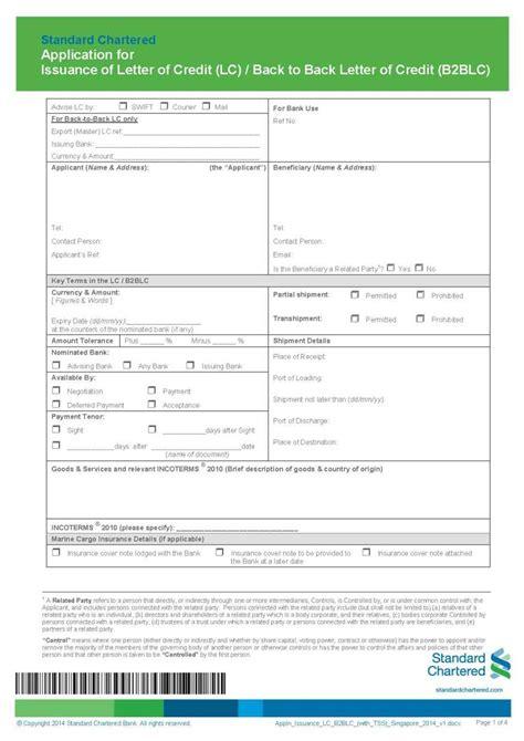 Standard Chartered Bank New York Letter Of Credit standard chartered bank singapore lc application form