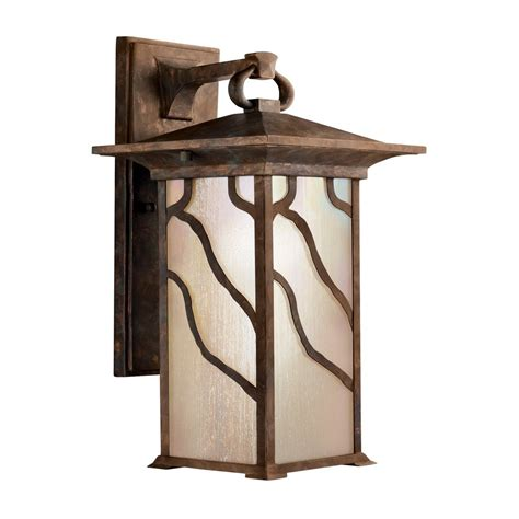 Copper Outdoor Light Shop Kichler Lighting Morris 15 25 In H Distressed Copper Outdoor Wall Light At Lowes