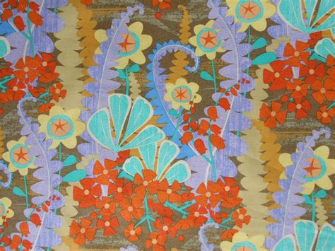 Purple Patchwork Fabric - yellow aqua purple orange retro funky floral cotton fabric
