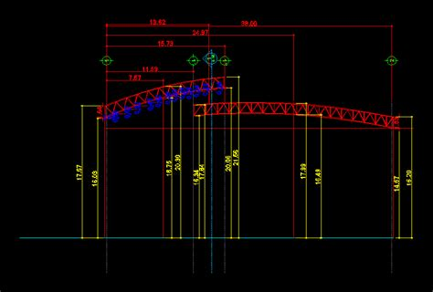 curved truss process dwg full project  autocad