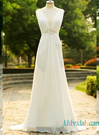 cheap simple plunging chiffon   wedding dress