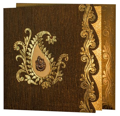 wedding card hindu hindu wedding card in shiny brown handmade paper