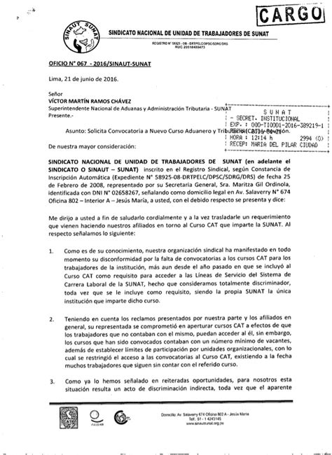 convocatoria vigentes 2016 vigentes convocatoria sunat 2016 oficio n 176 067 2016 sinautsunat