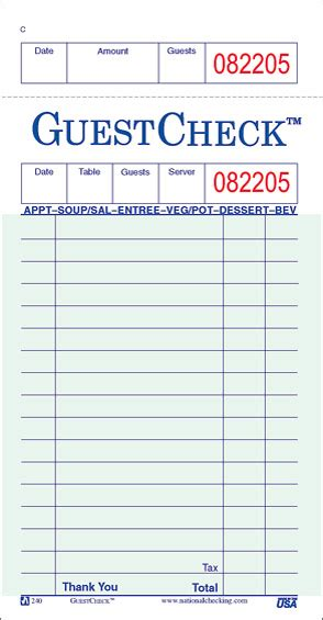 american restaurant receipt templates write classical 1 copy guest checks 50x50 national american wholesalers