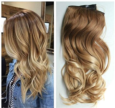 Ho1398 Hair Ekstension Half Brown 17 inches 120grams thick one half wavy curly ombre clip in hair extensions col