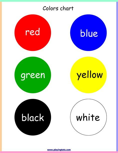 colors for toddlers colors chart toddler preschool learn file folder