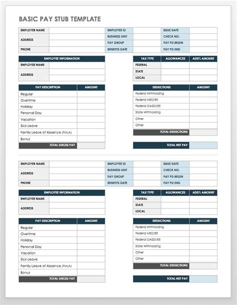 Employee Pay Stub Template Free