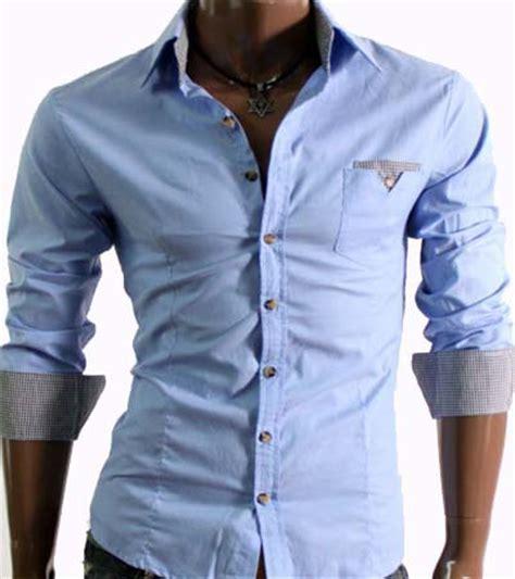 Men s Casual Slim Fit Dress Shirt Light Blue   Size XXL