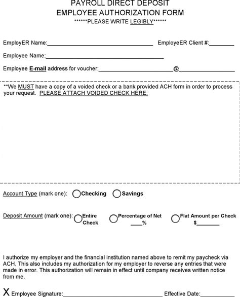 direct deposit authorization form download free