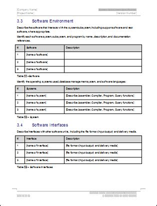 system subsystem specification template technical