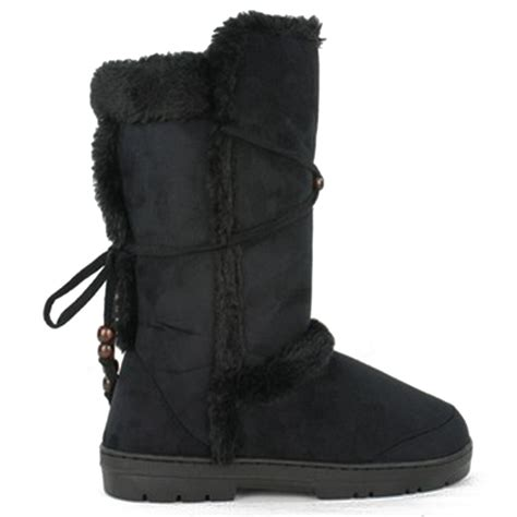 new womens fur lined winter boots flat warm thick