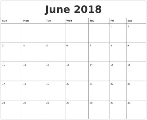 monthly one to one template june 2018 calendar printable templates webelator