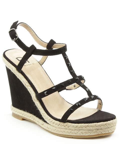 studded wedge sandals daniel deighton t bar studded wedge sandals in black lyst