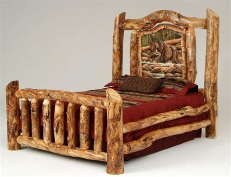 Burl Aspen Log Beds With Carved Panel Log Furniture Cabin Log Bed