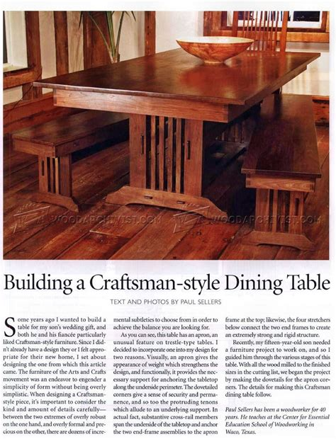 craftsman style dining table plans woodarchivist