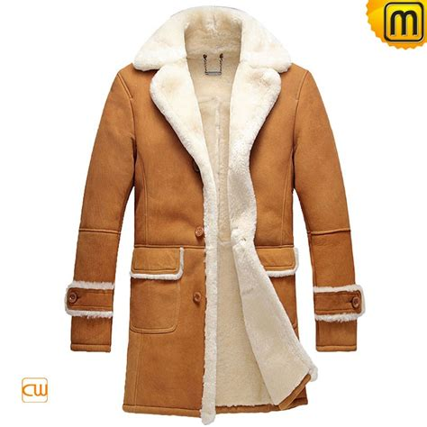 Shearling Jacket mens leather shearling trench coat cw878604