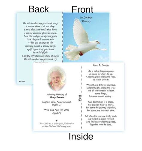 In Memoriam Donation Card Template by Folded Memorial Cards Hnc