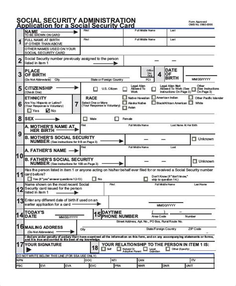 social security form 74 sle application forms in pdf sle templates