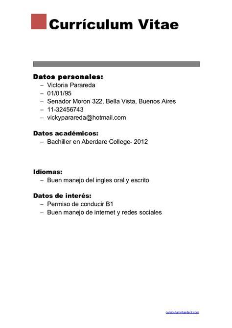 Modelo De Cv Basico Experiencia Curriculum Vitae Basico Curriculum Vitae
