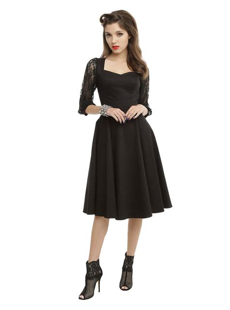 swing dress with lace sleeves get into the swing of things black lace sleeve swing