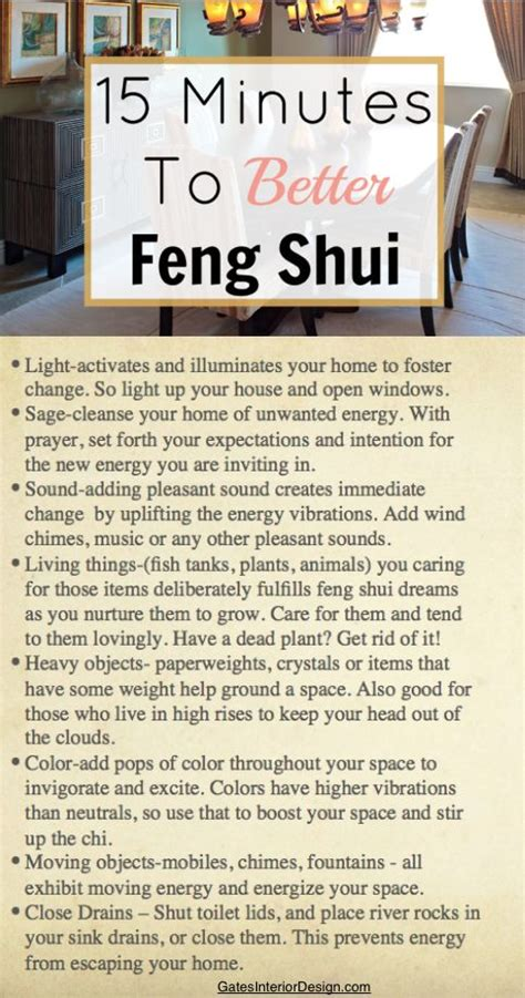 Feng Shui Ways To Better by 15 Minutes To Better Feng Shui Feng Shui House And