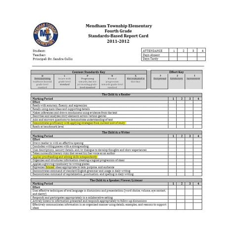 sle elementary report card template sle report card template 28 images 100 100 sle