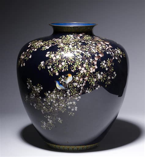 Vase Company by File Ando Cloisonn 233 Company Vase With Flowering Cherry