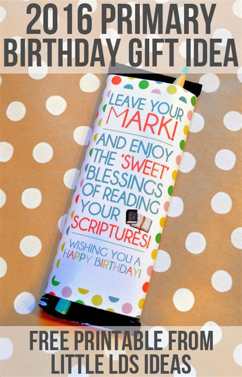 primary birthday treat card template this bar wrapper is great for the 2016 lds primary