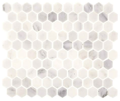 aspen white marble hexagon tile wall and