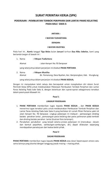 Contoh Surat Perintah Kerja Perusahaan by Contoh Surat Perintah Kerja Spk Yang Baik Dan Benar
