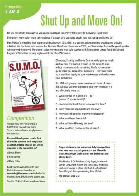 S U M O Shut Up Move On Oleh Paul Mcgee team talk issue 11 2012 kleeneze