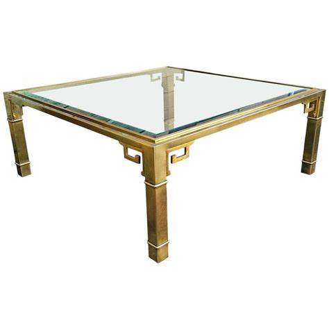 large mastercraft square brass key coffee table at