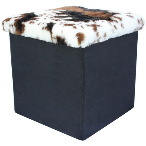 faux fur storage ottoman folding storage pouffe seat ottoman box with faux animal