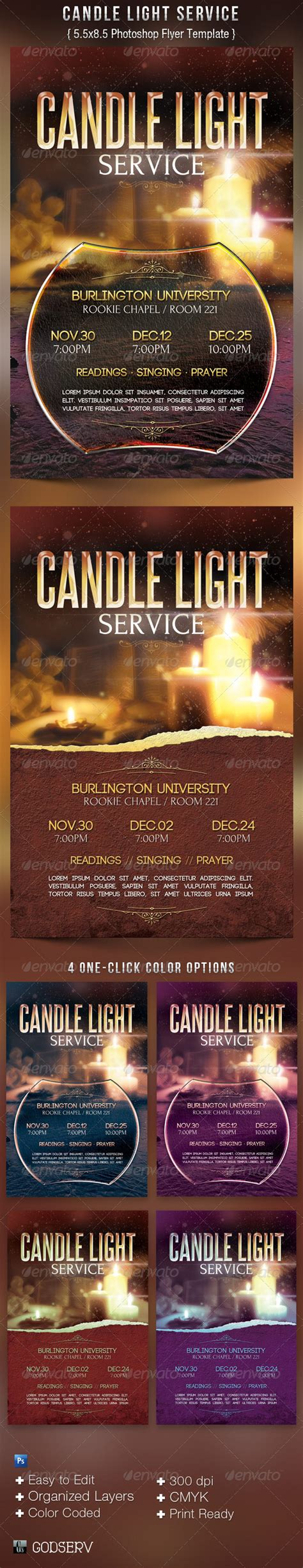 Candle Light Service Flyer Templates On Behance Lights Flyer Template