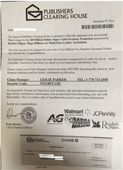 Scams Publishers Clearing House - lying letters preposterous prizes and tricky techies
