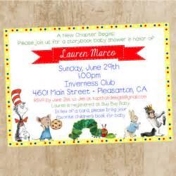children s book themed baby shower invitation by jenleonardini