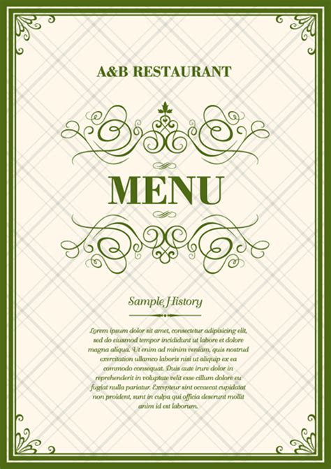 vintage menu template ai svg eps vector free