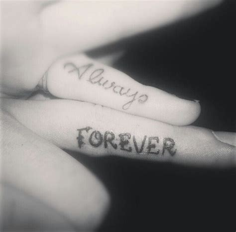 finger tattoo for couples always forever tattoo ideas pinterest