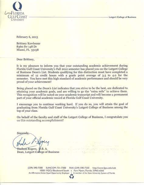 Recommendation Letter For Student From Dean Dean S List Letter Kowlessar