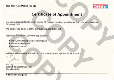 Letter Certificate Of Appointment About Us Pt Ekasurya Mandiri