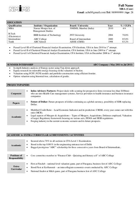 Mba Resume Format In Word by Cv Format For Mba Freshers Free In Word Pdf