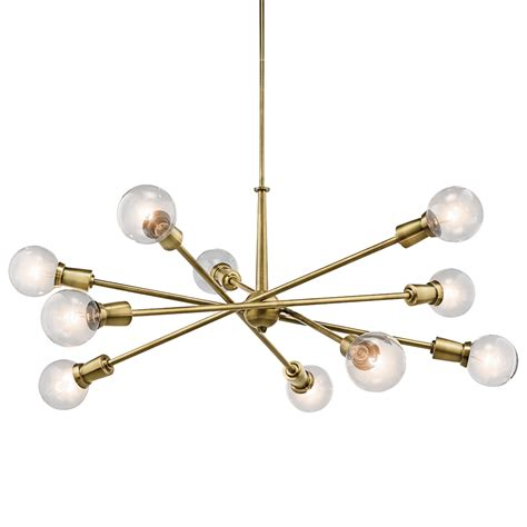 Kichler Armstrong 8 10 Light Chandelier Brass Sputnik Pendant Light