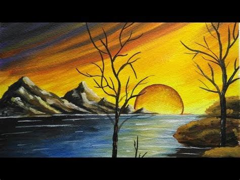 acrylic painting scenery how to paint a beautiful scenery sunset acrylic